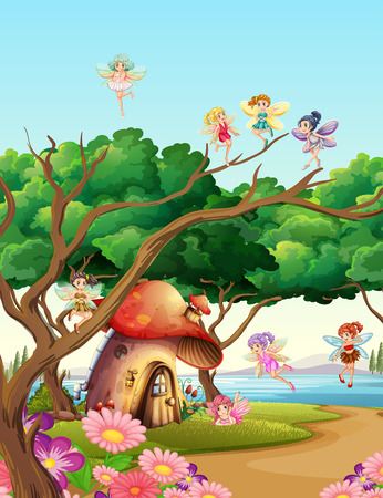 Fairies flying in the garden illustration