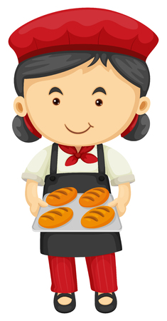 Female baker holding tray of bread illustration