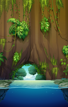 tropical forest: Cave over the water illustration