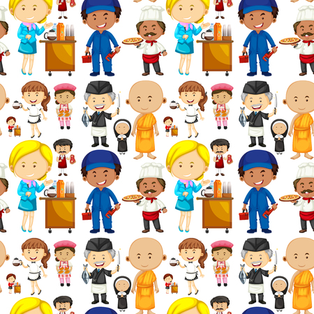 jobs people: Seamless background with people and jobs illustration