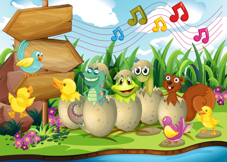 Scene with animals in the shells illustration