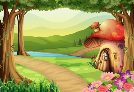 mushroom house: Mushroom house in the woods illustration