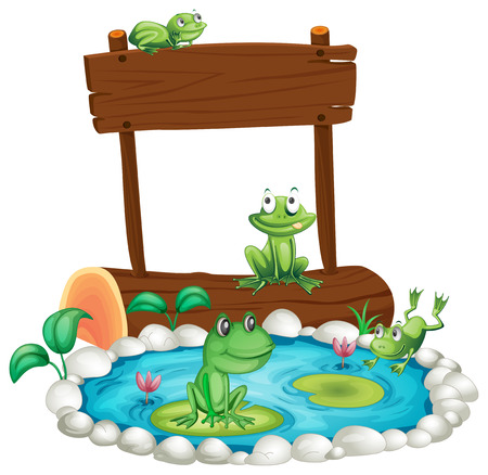 Wooden sign with frogs in the pond background illustration