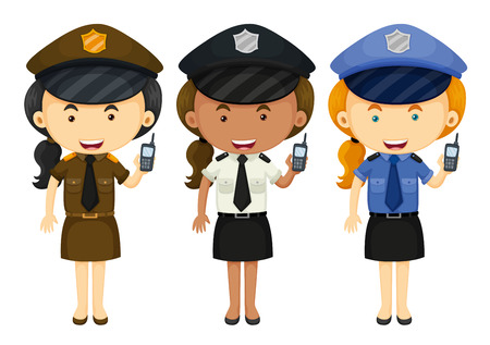 jobs people: Female police in three different uniforms illustration
