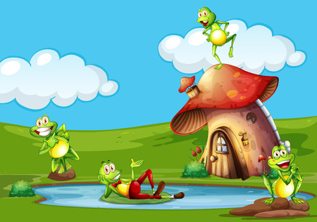 Scene con le rane nella figura stagno