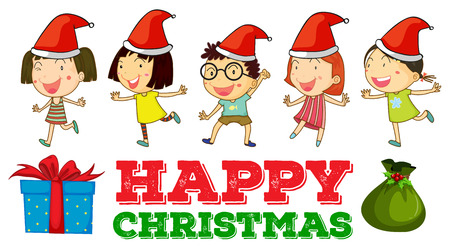 christmas party: Christmas theme with children in party hats illustration Illustration