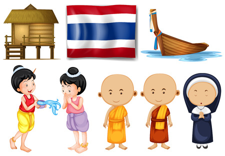 thai flag: Thai flag and other cultural objects illustration Illustration