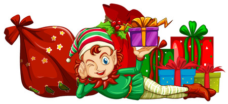 fantacy: Christmas theme with elf and gift boxes illustration