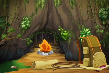 Campfire in the woods illustration Illustration
