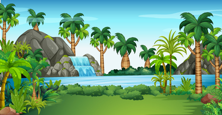 waterfall in forest: Scene with waterfall and lake illustration Illustration