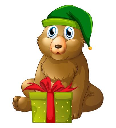 christmas present box: Christmas theme with bear and present box illustration
