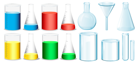 biology lab: Science equipment with beakers and tubes illustration