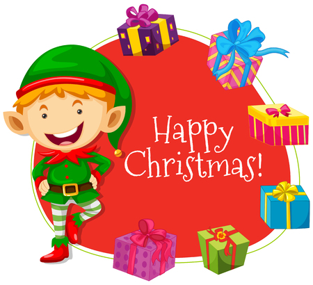 picture card: Christmas card template with elf and presents illustration Illustration