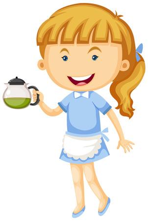 Waitress holding pot of tea illustration Illustration