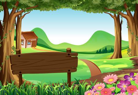 borde de flores: Wooden sign and countryside scene background illustration