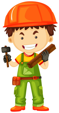 plywood: Carpenter holding hammer and wood illustration Illustration