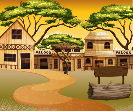 outside the house: Western town with road and buildings illustration
