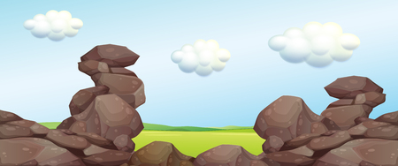 campground: Nature scene with rocks and field illustration