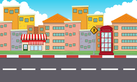 phonebooth: Buildings along the empty road illustration