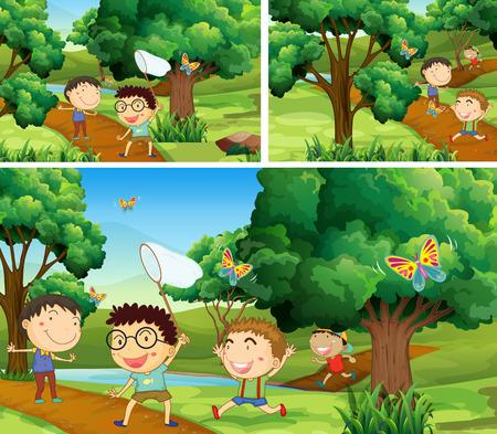Scenes with children catching bugs in garden illustration
