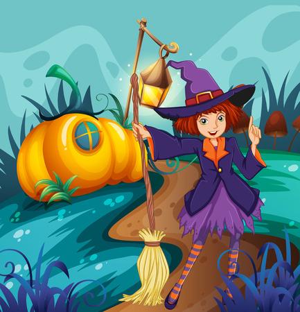 mushroom house: Cute witch and mushroom house illustration Illustration