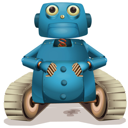 Blue robot with wheels illustration