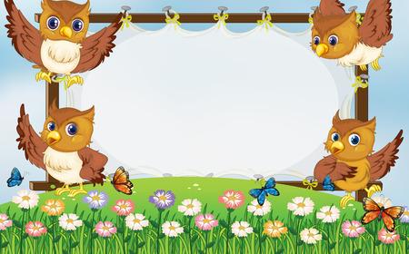 borde de flores: la plantilla del marco con los búhos volando en la ilustración jardín Vectores