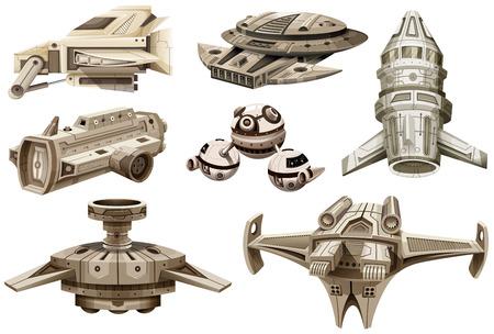 unidentified: Different designs of spaceships illustration