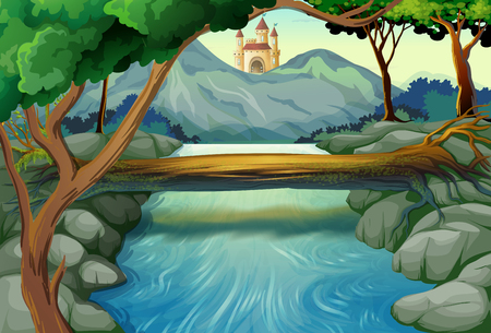 clip art: Scene with river and castle towers illustration
