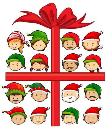 elves: Christmas theme with Santa and elves illustration Illustration