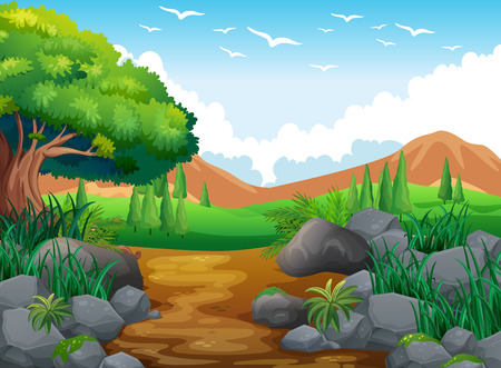 rural scene: Nature scene with hills and trail illustration Illustration