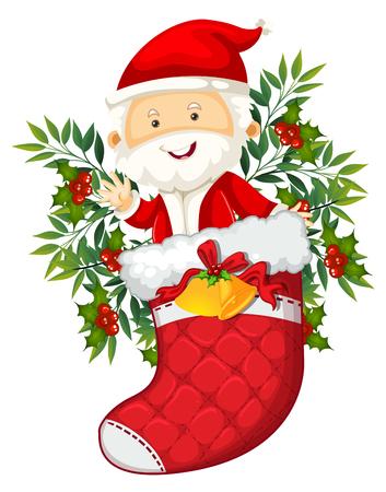 Santa in red sock illustration
