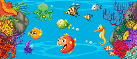 Scene with many fish underwater illustration