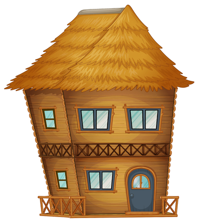 Two Stories Hut Made Of Bamboo Illustration Vector