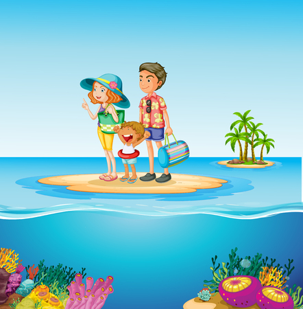 family trip: Family trip to the ocean illustration Illustration