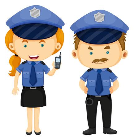 cop: Two police officers in blue uniform illustration Illustration