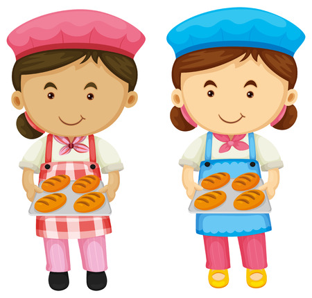 female pink: Two bakers holding tray of bread illustration Illustration