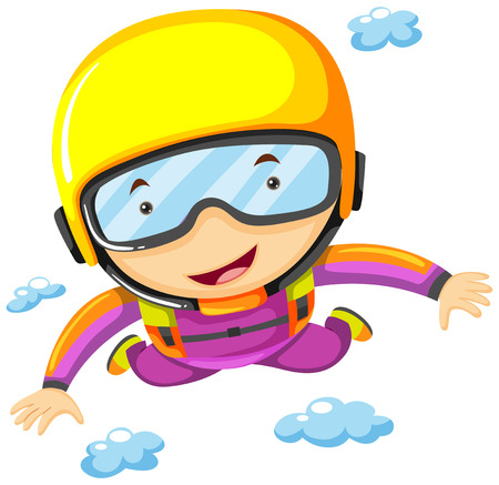 Person doing sky diving alone illustration