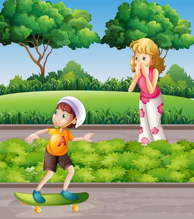 skateboard park: Boy on skateboard and mother in the park illustration