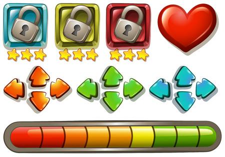 elementi di gioco con serrature e frecce illustrazione