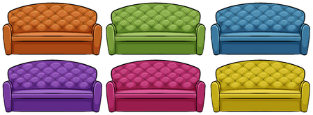 yellow green: Sofa in six different colors illustration Illustration