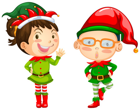 elves: Christmas theme with two elves illustration Illustration