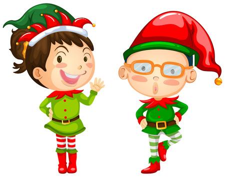Het thema van Kerstmis met twee elfen illustratie Vector Illustratie