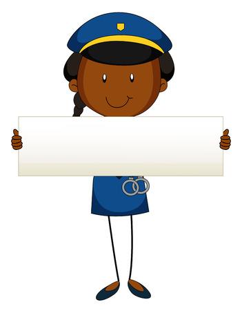 female cop: Police officer holding blank sign illustration Illustration