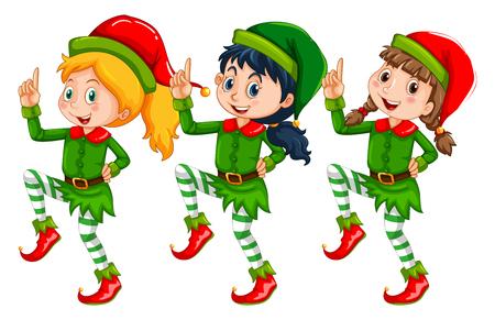 multiple image: Christmas theme with kids dressed up in elf illustration Illustration