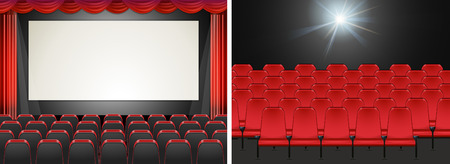 movie screen: Movie screen in the cinema illustration