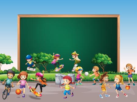 Disegno di telaio con molti bambini giocare in illustrazione di sfondo del parco