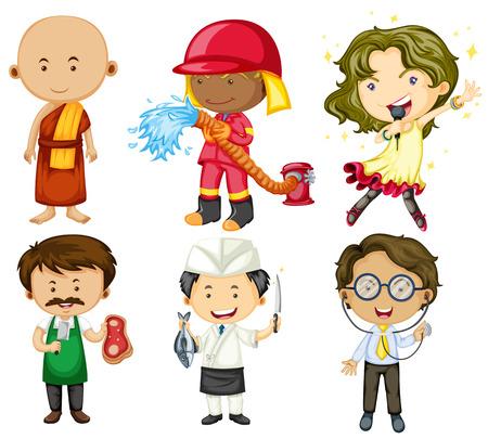jobs people: People doing different jobs illustration