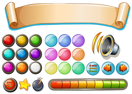 clipart speaker: Set of game elements with banner and buttons illustration Illustration