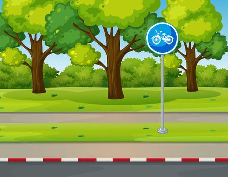 landscape road: Park scene with bike lane on the road illustration Illustration